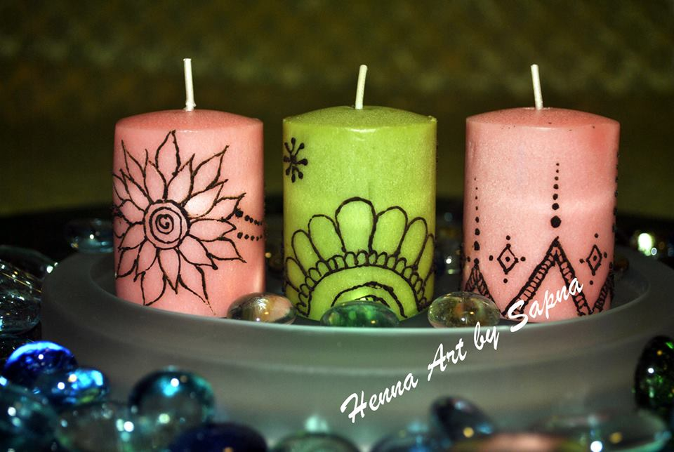 Mehndi Henna Candles : Buy henna candles art by sapna